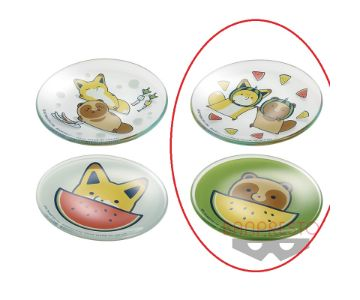 タヌキとキツネ ガラスプレートセット~涼しげな昼さがり~ タヌキ